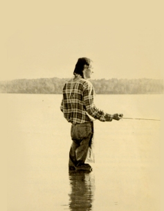 Donald Marshall Jr. fishing.  Photo courtesy of Micmac News 1991, photo by Stephen Marshall