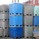 Stacked insulated fish tubs, Lunenburg, NS. Source: Verne Equinox via Wikimedia Commons